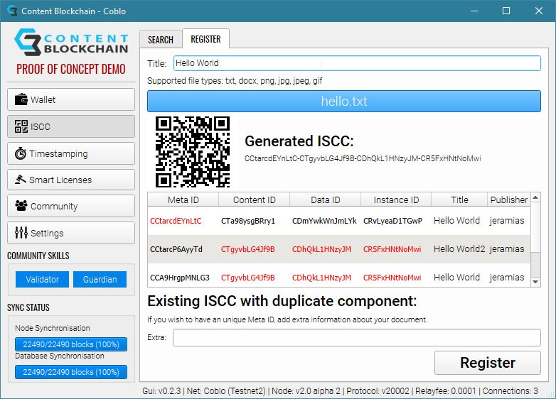 Screenshot Demo Wallet ISCC
